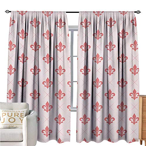 bybyhome CoralBlackout Window CurtainCheckered Pattern with Ancient Symbol of Fleur De Lis Royal French Lily FlowerDecor Curtains by W108 xL72 Coral Baby Pink