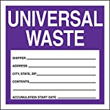 "Accuform Signs MHZW16PSP Adhesive Coated Paper Hazardous Waste Label, Legend ""UNIVERSAL WASTE - SHIPPER - ADDRESS - CITY,STATE,ZIP - CONTENTS - ACCUMULATION START DATE - "", 6"" Length x 6"" Width, Purple/Black/White (Pack of 25)"