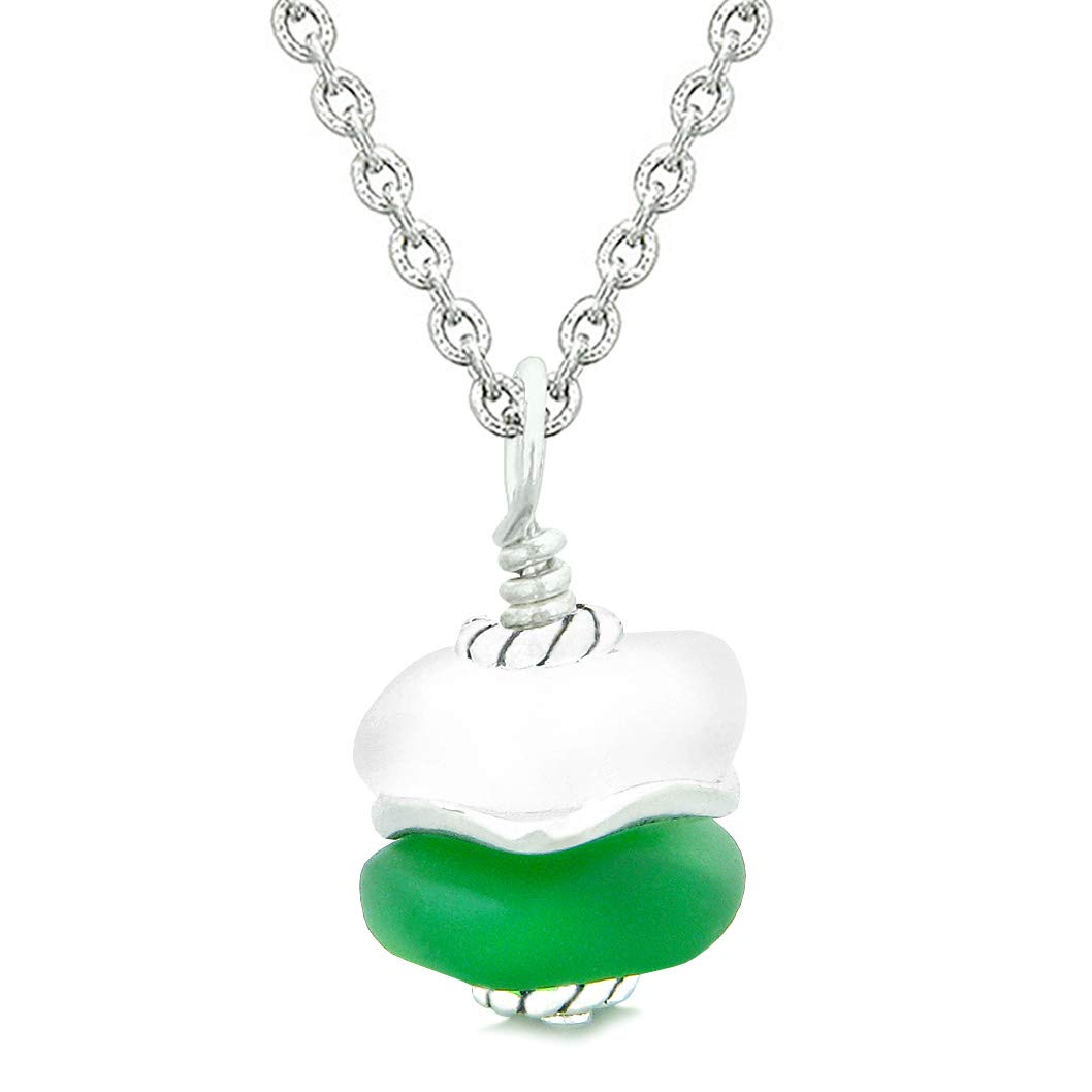 Sea Glass ICY Frosted Waves Lucky Elephant Forest Green White Positive Energy Amulet 22 Inch Necklace