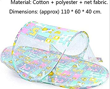 LAAT Baby Travel Bed Mosquito Net Tent Anti-Insect Protection Portable Crib Childs Beach Tent Foldable with Small Mattress 2