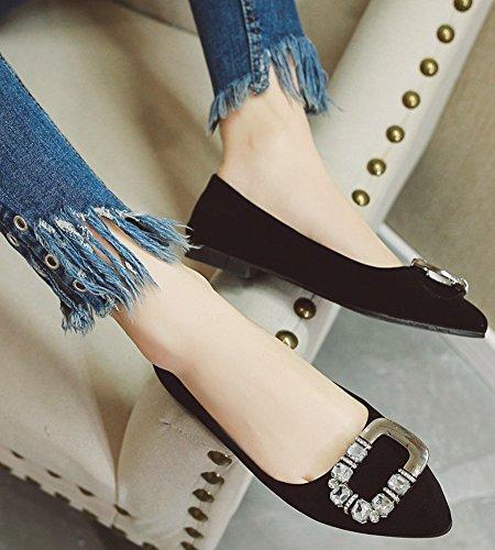 Idifu Para Mujer Elegante Punta Estrecha Faux Suede Slip On Rhinestones Flats Zapatos Black