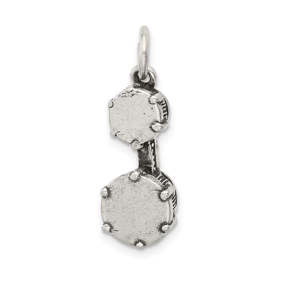 8mm x 23mm Solid 925 Sterling Silver Antiqued-Style Bongo Drums Pendant Charm