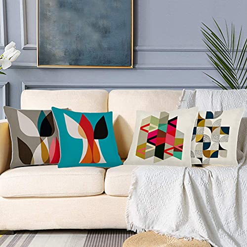 BOCTTCBO Cushion Covers Pack of 4 Sofa Decorative Square Throw Pillow Case 18 x 18 inch Outdoor Pillowcase for Garden Chair Living Room Bedroom with Invisible Zipper (Pattern 1)