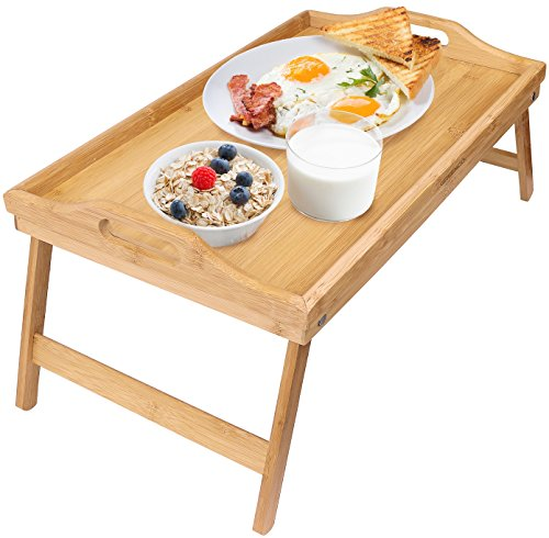 Greenco Bamboo Foldable Breakfast Table, Laptop Desk, Bed Table, Serving (Bed Tray Table)
