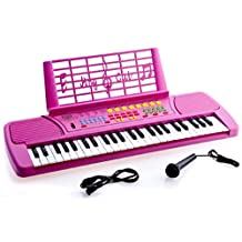 Ellegance KB49PK Children 49 Keys Electronic Piano Music Keyboard, Pink