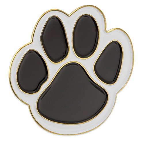 PinMart Black and White Animal Paw Print School Mascot Enamel Lapel (Black Enamel Animal)
