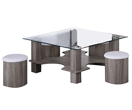 Amazon.com: ACME Haden Dark Grain Coffee Table & Ottomans Set 5 ...