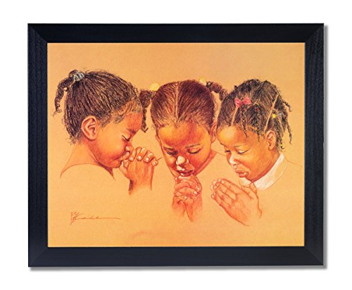 Solid Wood Black Framed Three Girls Praying Jesus Christ Religious Pictures Art Print