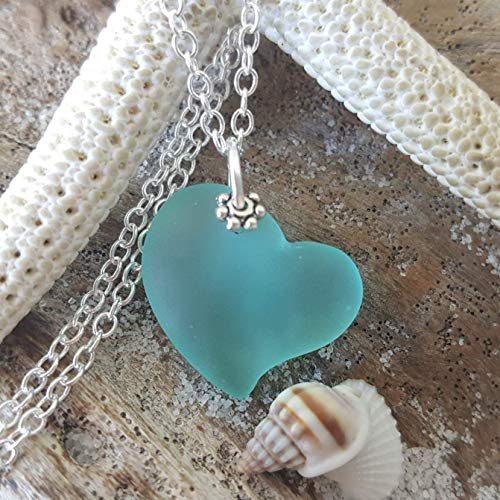 Handmade in Hawaii, Aqua heart sea glass necklace, sterling silver chain, Hawaiian Gift, FREE gift wrap, FREE gift message, FREE shipping -