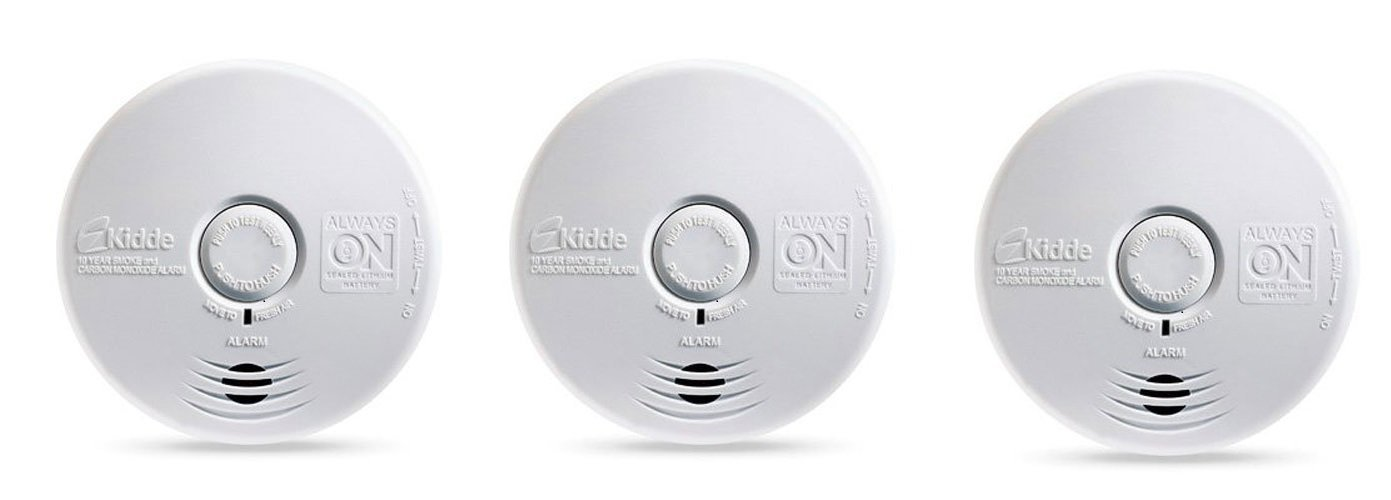 Kidde P3010K-CO Worry-Free Kitchen Photoelectric Smoke and Carbon Monoxide Alarm with 10 Year Sealed Battery (Pack of 3)
