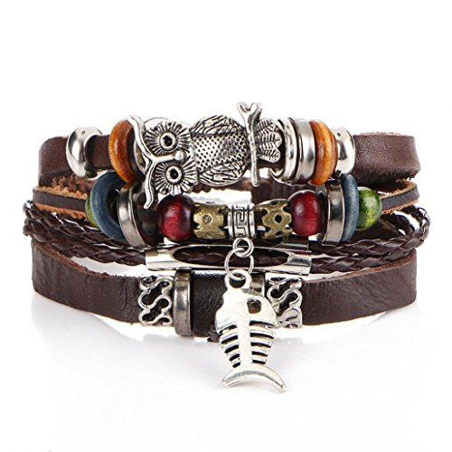 Irish Bracelet Beaded (Molyveva Leather Wrap Bracelet, Fishbone and Alloy Owl Cuff Braided Bangle Handmade Jewelry for Women Men)