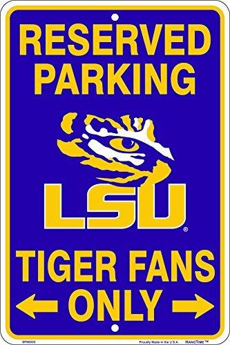 Maroon Parking Sign (LSU Tiger Fans Reserved Parking Sign Metal 8 x 12 embossed)