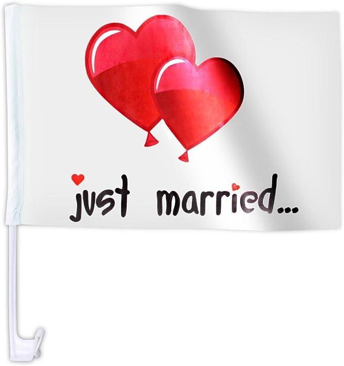 10 Stk Alsino Autoflagge Afl 10b Autofahne Für Die Hochzeit Just Married Ballons Auto Flagge Fahne Auto