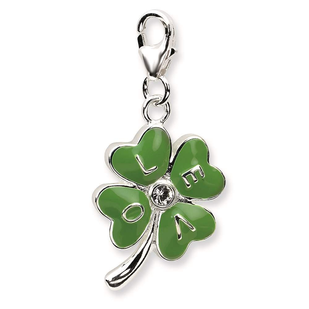 925 Sterling Silver 3-D Enameled 4 Leaf Clover w// Lobster Clasp Charm Amore La Vita Collection
