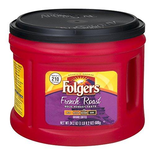 Folgers French Medium Dark Roast Ground Coffee, 24.2 OZ Tub (Pack of 2, Total of 48.4 Oz)