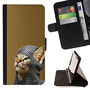 Momo Phone Case / Flip Funda de Cuero Case Cover - Chainmail Warrior Cat - Samsung Galaxy S6 EDGE