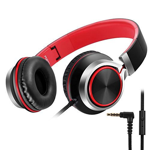 Headphones, FOSTO FT58 Stereo Foldable Headset Strong Low Bass Headphones with Microphone for iPhone, All Android Smartphones, PC, Laptop, Mp3/mp4, Tablet Earphones(Red