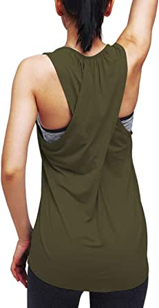 Mippo Workout Tops for Women Yoga Athletic Shirts Running Tank Tops Gym Workout Clothes