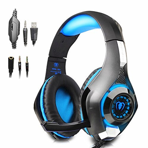 Gaming Headset GM-1 with Microphone for New Xbox 1 PS4 PC Cellphone Laptops Computer - Surround Sound, Noise Reduction Game Earphone-Easy Volume Control with LED Lighting 3.5MM Jack(Black+Blue)