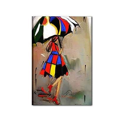 Cuadros Modernos abstractos pintados a mano sobre lienzo Mujer con paraguas