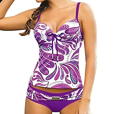 Summer Mae Women's Purple Pattern Swimwear Two Piece Tankini Top & Bottom