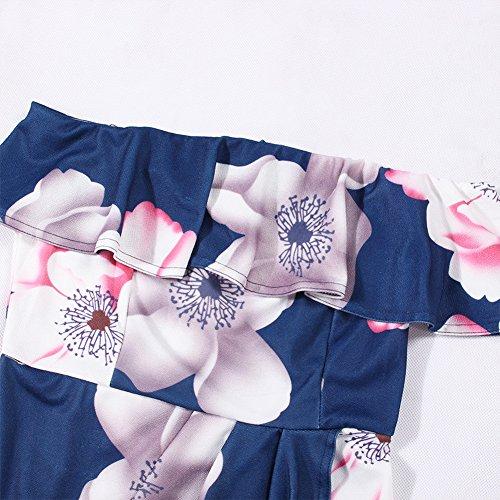 Navy Front Women's Summer Off Blue Ruffle Summer Sexy Dress Dress Irregular Fashion Split Floral Hem Shoulder Print rZPxqwTPn