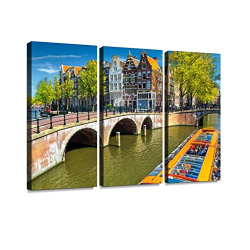 YKing1 Typical Amsterdam canals with Bridges and Colorful Boat, Netherlands, Europe Wall Art Painting Pictures Print On Canvas Stretched & Framed Artworks Modern Hanging Posters Home Decor 3PANEL