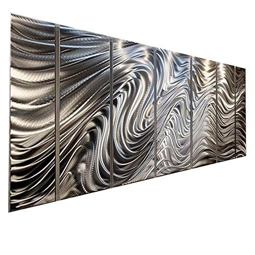 3d Metal Art (Silver Contemporary Metal Wall Art Sculpture - Multi Panel Metal Decor by Jon Allen - Hypnotic)