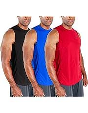 DEVOPS 3 Pack Men's Muscle Shirts Sleeveless Dri Fit Gym Workout Tank Top