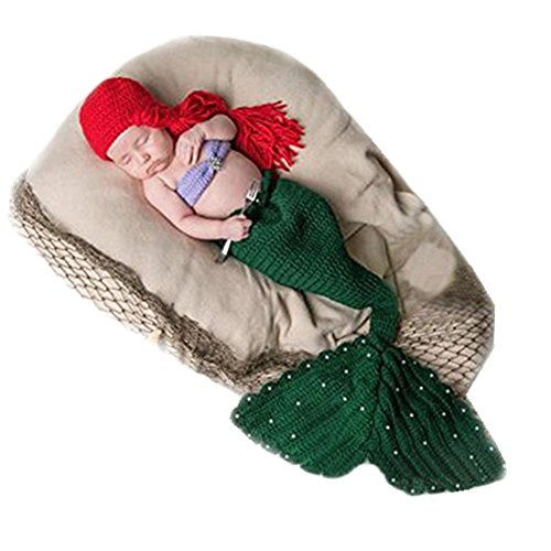 Little Mermaid Infant Costumes (Fashion Newborn Boy Girl Baby Costume Outfits Knitted Photography Props Mermaid)
