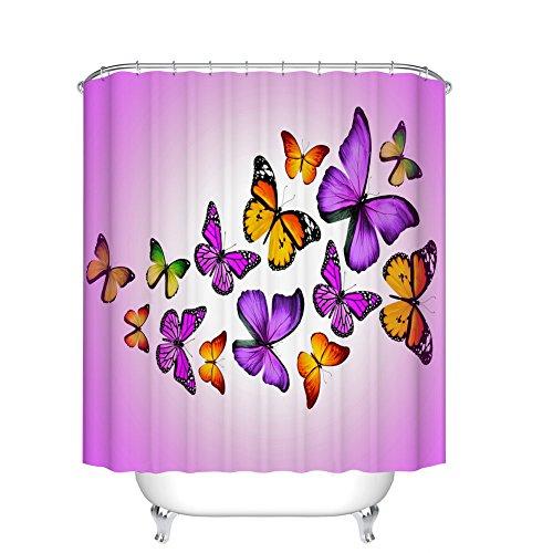 Fangkun Shower Curtain Art Bathroom Decor Flying Butterflies - Waterproof Polyester Fabric Bath Curtains Set - 12pcs Shower Hooks - Pink Purple and Orange 72 x 72 inches (And Orange Purple Curtains)