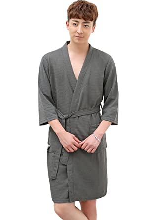 ea3357b6378464 OKSakady Männer und Frauen Baumwolle Waffel Kimono Bademantel Spa Robe:  Amazon.de: Bekleidung