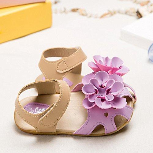 bescita Mädchen Schuhe Kühlen Sommer Sandalen Skidproof Kleinkinder Kinder Kind Blume Schuhe (22, Lila)