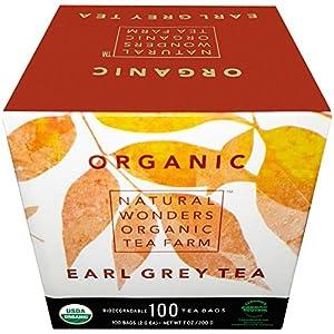 Natural Wonders USDA Organic Bergamot Earl Grey Individually Wrapped Tea Bags, 100 Count