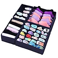 iYaYoo Bra Sock Underwear Drawer Organizer Foldable Closet Storage Boxes Divi...