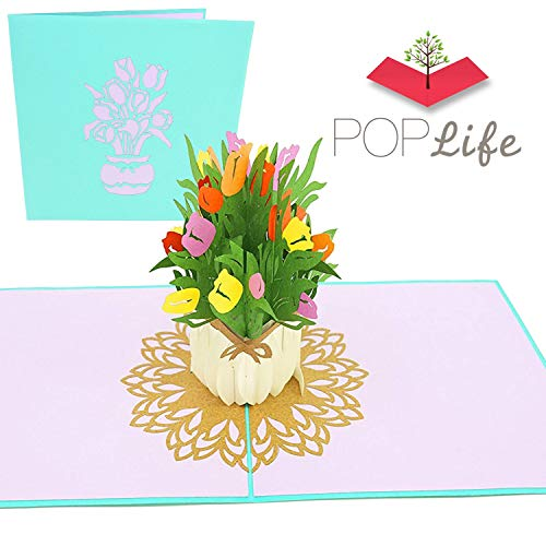PopLife Spring Tulips Bouquet Pop Up Valentines Day Card - 3D Happy Anniversary Gift, Easter Pop Up Mothers Day Card, Happy Birthday - Folds Flat for Mailing - for Mom, for Daughter, for Wife
