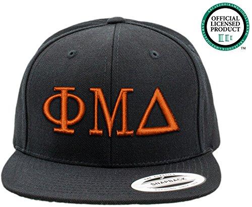 PHI MU DELTA | Black Flat Brim Snapback Hat - Various Thread Options
