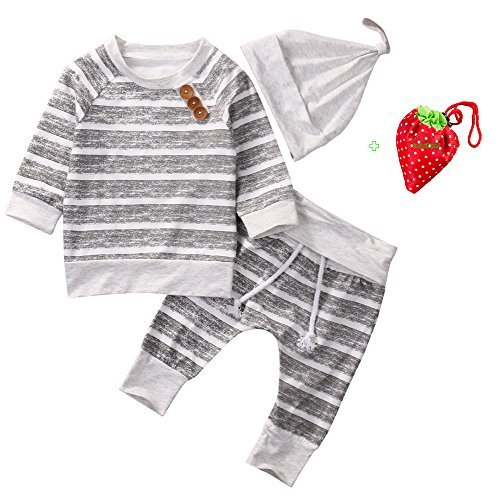Baby Clothing Sets 2017 Autumn Newborn Boys Girls Clothes Infant Striped Tops T-shirt Pants Leggings Outfits Set (0-3 Months, Grey)