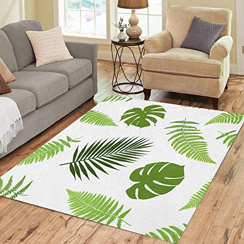 Semtomn Area Rug 5' X 7' Green Leaf Tropical Leaves Fern Jungle Hawaiian Border Grass Home Decor Collection Floor Rugs Carpet for Living Room Bedroom Dining - Leaves Border Fern