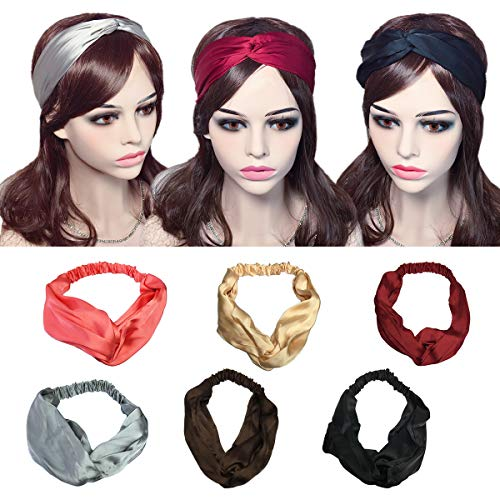 YSJOY 6 Pack Women Girls Silk Satin Headbands Solid Color Elastic Hairband Twisted Turban Headwrap For Sports or - Lined Silk Wrap