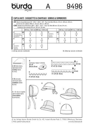 Burda Schnittmuster 9496 – Motorhaube, Kappen und Hüte Kinder Größen ...