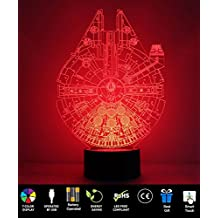 Millennium Falcon Night Light Christmas Thanksgiving Day Gift, ProCIV 3D Illusion 7 Color Multicolored Changing with USB Powered Table Desk Lamp for Children Bedroom Household Home Decoration Gift
