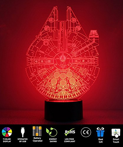 Millennium Falcon Night Light, ProCIV 3D Illusion 7 Color Multicolored Changing with USB Powered Table Desk Lamp for Children Bedroom Household Home Decoration Gift