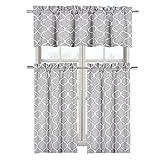 #4: Maison Shabby Gray Trellis Cotton Blend Kitchen Curtain Tier & Valance Set - Assorted Colors (Gray)