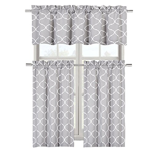 Regal Home Collections Café Styled Shabby Lattice Maison Kitchen Curtains - Assorted Colors (Gray) (Gray Curtains Cafe)