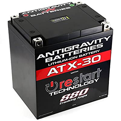 Antigravity ATX30-RS Lithium Motorsport Battery w/ BMS & Re-Start Technology - 880cca 5.75 Pounds 30Ah - Replaces YTX30 YTX30L-BS YIX30 YIX30L-BS GYZ32HL - MADE IN THE USA With a 3 Year Warranty