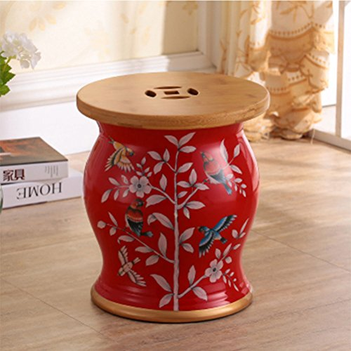 ch-AIR Stool Green Ceramic Drum Stool Craft Porcelain Vanity Dressing Stool Shoe Bench Home Decoration Storage Hand-Painted Table Pier Leisure Stool Sofa Foot 27X31CM 0612A (Color : ()