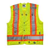Viking 6165G-M Open Road Surveyor Safety-Vest-Vibrance 4-Inch Safety-Stripes-150D Polyester, Medium, Fluorescent Green