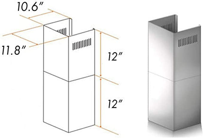 Amazon Com Wall Mount Range Hood Extension For 7ft To 8ft Ceilings Adjustable Chimney Short Kit 2 Pieces Brushed Stainless Steel 11 8 W X 12 H X 10 6 D Appliances