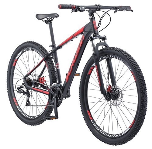 Schwinn Bonafide Mountain Bike with Front Suspension, Featuring 17-Inch/Medium Aluminum Frame and 24-Speed Shimano Drivetrain with 29-Inch Wheels and Mechanical Disc Brakes, Matte Black/Red (Best Mountain Bike Under $700)